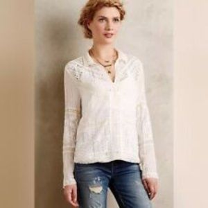 Anthropologie Tiny Abbey Cream Lace Blouse